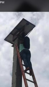 Rose checks out solar panel